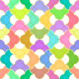 Abstract seamless pattern with colored rounded elements with a Golden outline. Stock Photography