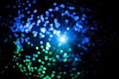 Abstract Optic Fiber Blue and Green Technology Concept Background Stock Photo