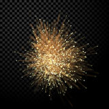 Abstract optical fiber wirework glitter light effect on black background. Abstract optical fiber glitter light effect on black background. Gold futuristic neon Stock Image