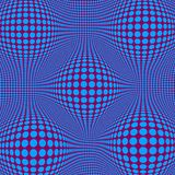 Abstract Optical illusion Op art with blue dots vector illustration