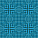 Abstract Optical illusion Op art with blue dots on  dark green background. Pattern seamless for wallpaper,textile royalty free illustration