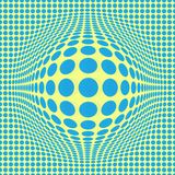 Abstract Optical illusion Op art with blue dots on  yellow background.Pattern seamless stock illustration