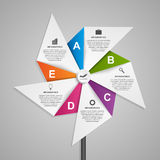 Abstract options infographics design template in the shape of air pinwheel. Royalty Free Stock Image
