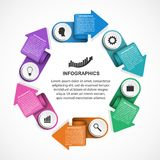 Abstract options infographics template with arrows in a circle. Infographics for business presentations or information banner. Royalty Free Stock Images