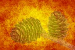 Abstract orange background with cones Stock Photography