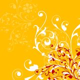 Abstract orange background with floral elements. Ornamental design, digital artwork, floral elements, orange stock illustration