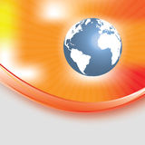 Abstract orange background with globe Royalty Free Stock Photos
