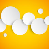 Abstract orange background with paper circles Stock Photography