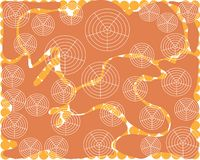 Abstract orange background smooth streamlined shapes with white round shapes vector illustration