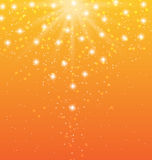 Abstract orange background with sun rays and shiny stars Royalty Free Stock Photo