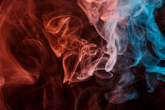 Abstract orange blue smoke Weipa stock photo