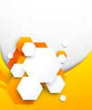 Abstract orange brochure with hexagons Stock Images