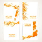 Abstract orange brush texture banner set 2 Stock Photo