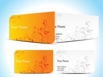 Abstract orange  business card with floral Royalty Free Stock Image