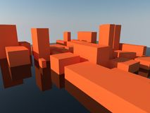 Abstract orange City landscape. Modern abstract orange city landscape 3d render Royalty Free Stock Images