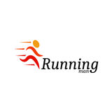 abstract orange color running man logo.  Stock Photos
