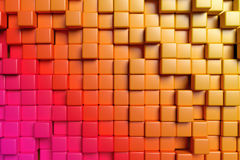 Abstract orange cubes 3d background. Abstract conceptual design of the wall: abstract orange graphic background made of colored cubes in front view, 3d Stock Photo