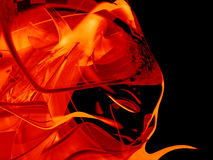 Abstract orange design. Red abstract shapes on black background Stock Photography