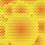 Abstract orange dotted halftone background. Two color pattern on yellow backdrop. Decorative template for cover, poster. Or banner Royalty Free Stock Photo