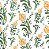 Abstract orange elegance seamless pattern with floral background. Stock Photo