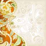 Abstract Orange Floral. Illustration of abstract red floral background in asia style Stock Photos