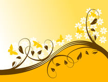 Abstract Orange Floral Background Stock Image