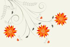 Abstract orange floral background royalty free illustration