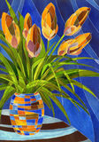 Abstract orange flowers in mottled vase vector illustration