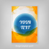 Abstract orange geometric cover design with triangular polygons. And minimal round text box Royalty Free Stock Photography