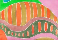 Abstract orange geometric pattern on silk batik Stock Photography