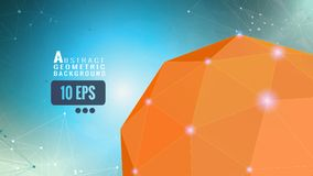 Abstract orange geometric sphere on blue BG Royalty Free Stock Images