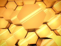 Abstract orange glossy 3D hexagons background. Stock Photo