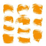Abstract orange gouache smears set on a white backgroun Stock Photos