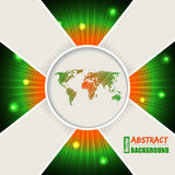 Abstract orange green background with world map Royalty Free Stock Images