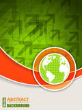 Abstract orange green brochure with globe. Abstract orange green brochure with arrows and globe royalty free illustration