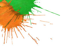 Abstract orange-green watercolor spots Stock Image