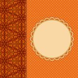 Abstract Orange Invitation Card with Place for Text. And Pattern Decoration Part royalty free illustration