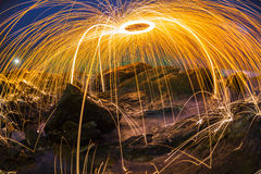 Abstract orange light streak dark blue sky Royalty Free Stock Images