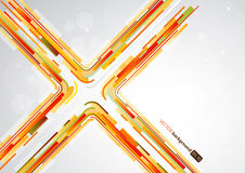 Abstract orange lines in X shape with place for your text. Royalty Free Stock Photo