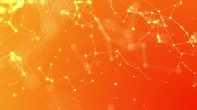 Abstract Orange Plexus Lines and Nodes High Tech Looping Background for Science, Networking, Technology