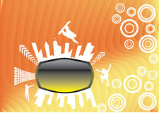 Abstract orange rainbow design. With shilouettes of city and skateboardists Royalty Free Stock Images