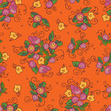 Abstract orange roses seamless pattern. Vector background Royalty Free Stock Photo