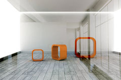 Abstract orange shapes in room Stock Photography