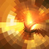 Abstract orange shining circle tunnel background Royalty Free Stock Photo