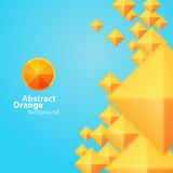 Abstract Orange Square On A Blue Background Stock Photo