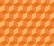 Abstract orange striped 3d cubes geometric seamless pattern, vector. Background Royalty Free Stock Photos
