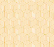 Abstract orange striped 3d cubes geometric seamless pattern, vector. Background Stock Images