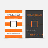 Abstract orange stripes vertical business cards. Vector business card design template for games presentations, ui tablets, smart phones Royalty Free Stock Image