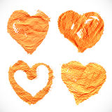 Abstract orange textural heart shape prints Royalty Free Stock Photo