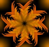 Abstract orange vector jagged flower pattern in fractal style on black background, high contrasting decorative tile with 3d effect Stock Photo